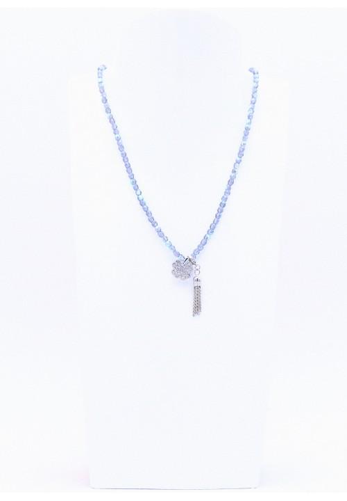 Tanzanite farbene Perlenkette Kleeblatt in Strass