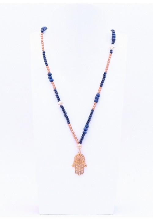 Hamsa Hand Anhänger mit blauer Perlenkette