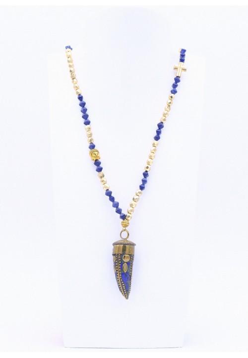 Perlenkette Lang mit Metallzahn in Blau/Gold