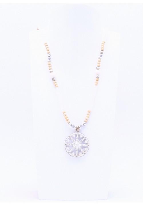 Silberne Perlenkette Karma Rad mit Perlmutt