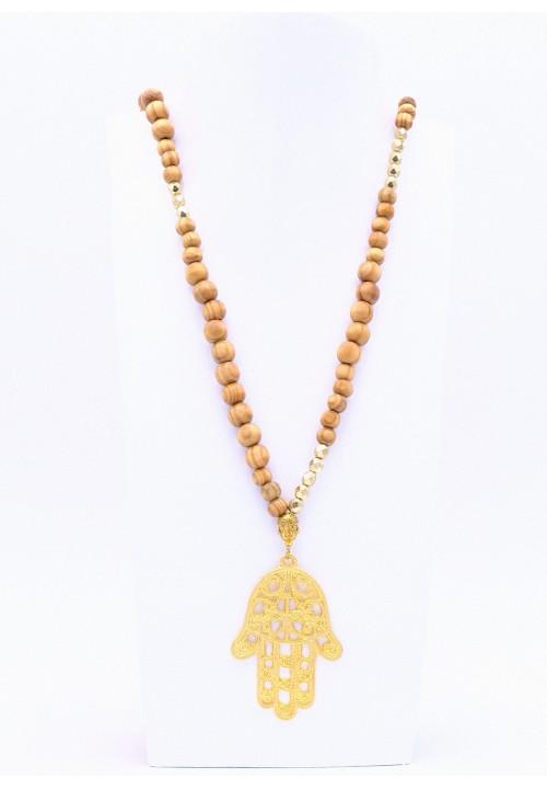 Hellbraune Halskette Hamsa Hand XL mit Goldperlen