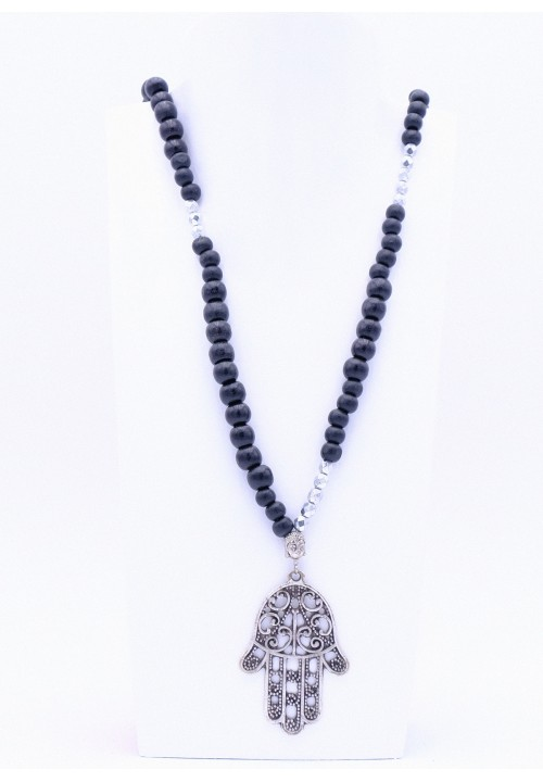 Schwarze Perlenkette Hamsa Hand XL mit Silberperlen