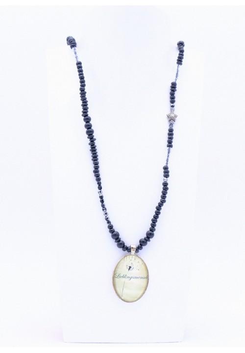 Schwarze Lieblingsmensch Perlenkette