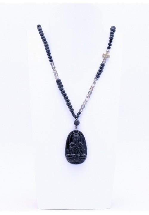 Halskette mit schwarzen Obsidian Buddha Anhänger