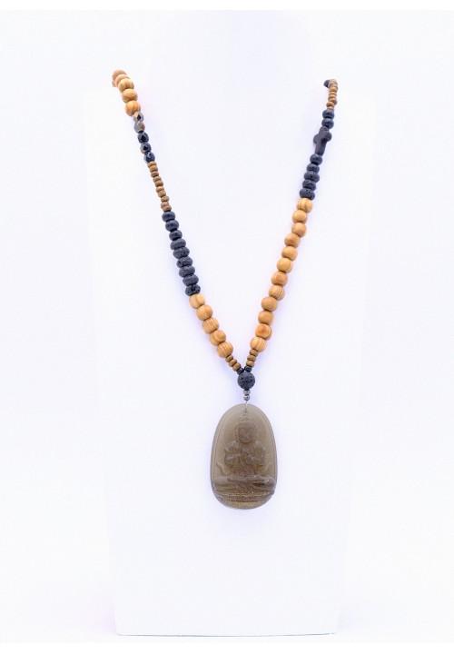 Perlenkette mit Buddha Anhänger aus Obsidian