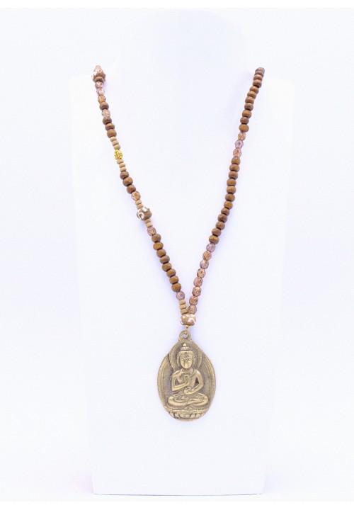 Halskette mit Buddha Metallanhänger in Hellbraun