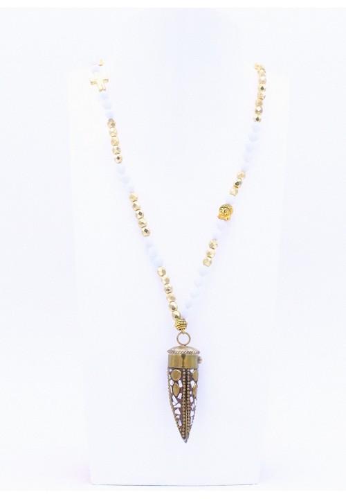 Lange Halskette mit Metallzahn in Grau/Gold