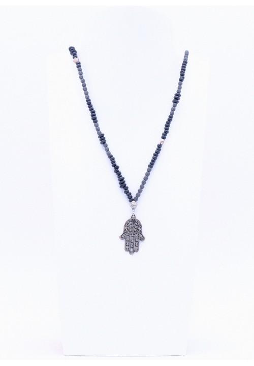 Schwarze Halskette Hamsa Hand mit Silberperlen