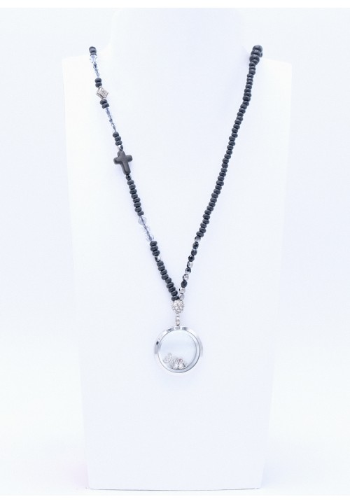 Perlenkette Floating Charms Schwarz