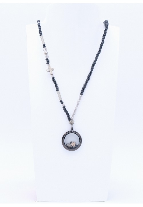 Perlenkette Floating Charms Anthrazit