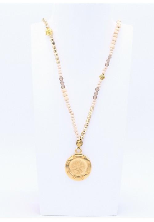 Naturfarbene Kette mit Goldperlen und Symbole Anhänger