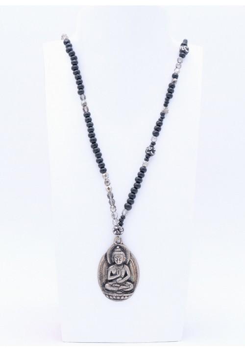 Schwarze Perlenkette mit Metall Buddha Anhänger