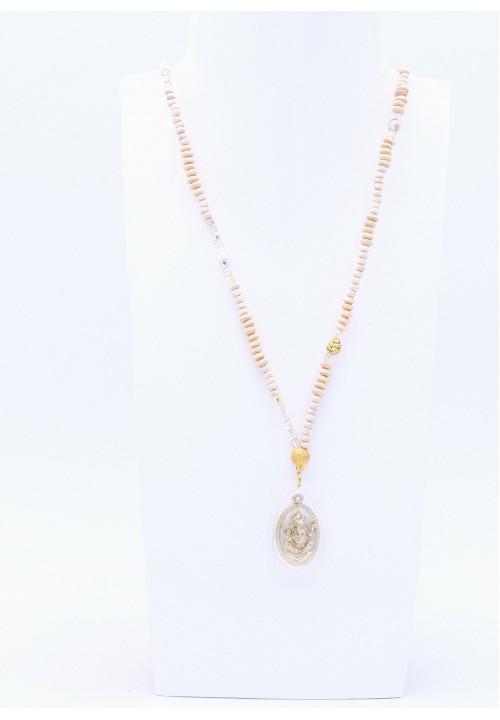 Creme farbene Perlenkette Ganesha mit Goldperlen