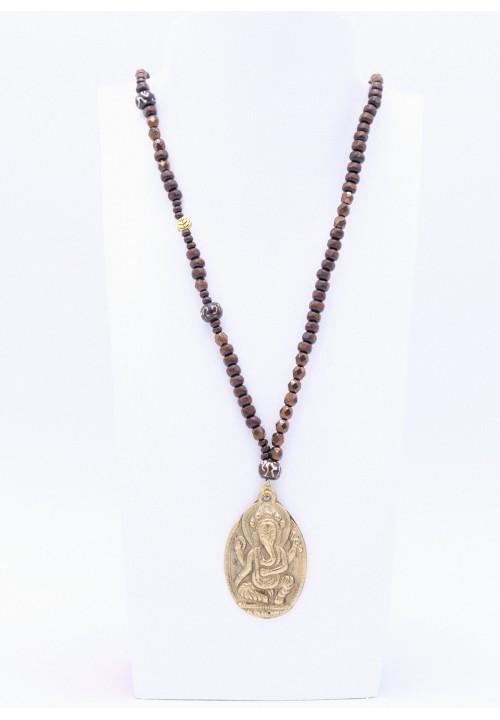 Halskette mit Ganesha Anhänger in Dunkelbraun