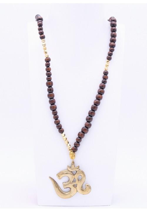 Dunkelbraune Halskette mit XL Om Zeichen