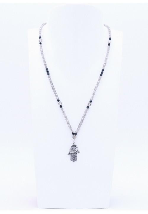 Halskette in Schwarz Anthrazit mit silberner Hamsa Hand