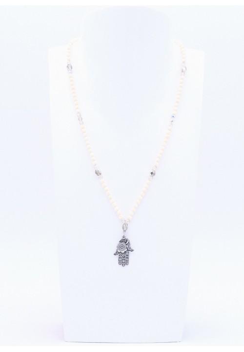 Hamsa Hand Anhänger mit Elfenbeinfarbener Perlenkette