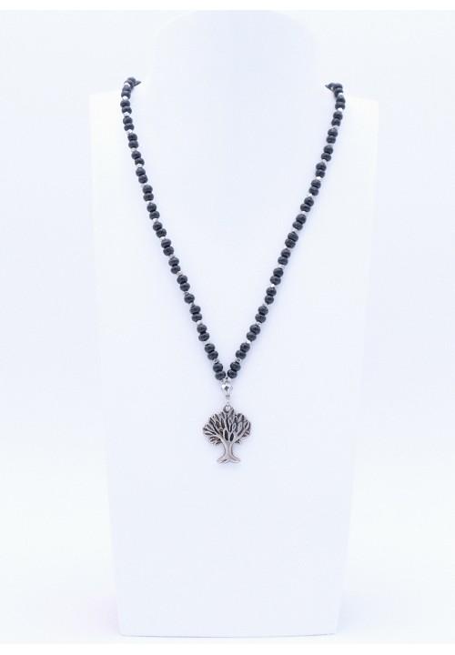 Schwarze Perlenkette mit Lebensbaum Anhänger