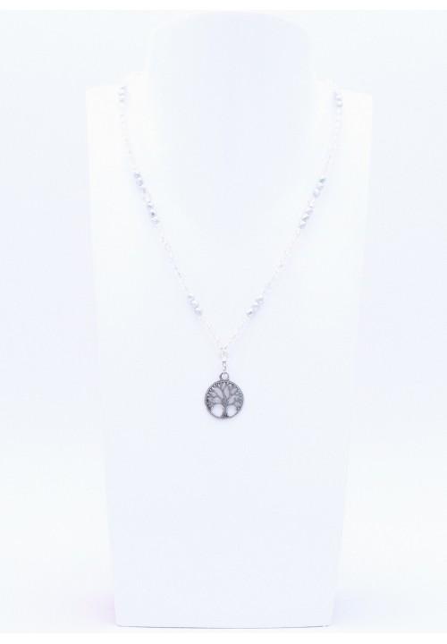 Lebensbaum Glasperlenkette mit Kristalperlen