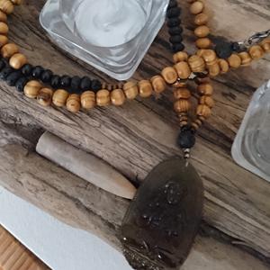 Farben und auffällig günstig am besten einkaufen Holzkette mit Obsidian für Herren & Damen